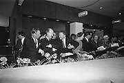 05/04/1965<br /> 04/05/1965<br /> 05 April 1965<br /> Second Irish Export Fashion Fair opened at the Intercontinental Hotel, Dublin. Picture shows Mr W.H. Walsh, General Manager Coras Trachtala; Mr J.C.B. McCarthy, Secretary, Department of Industry and Commerce, who opened the Fair and Mr John Haughey, Chairman of Coras Trachtala.