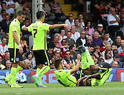 Sam Baldock, Kazenga LuaLua celebrating brighton scoring  during the Sky Bet Championship match between Fulham and Brighton and Hove Albion at Craven Cottage, London, England on 15 August 2015. Photo by Matthew Redman.