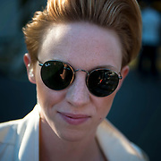 May 17, 2013 - Queens, NY :   Elly Jackson of La Roux, poses for a portrait before performing during the first day of the 2013 New York 'Electric Daisy Carnival,' an electronic dance music festival, at Citi Field in Queens, on Friday. CREDIT: Karsten Moran for The New York Times CREDIT: Karsten Moran for The New York Times