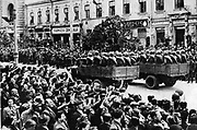 Mechanised units of the Russian army driving through Kishinev, Bessarabia, 3 July 1940,  reclaiming Bessarabia as a Russian province 20 years after it had been united with Romania.