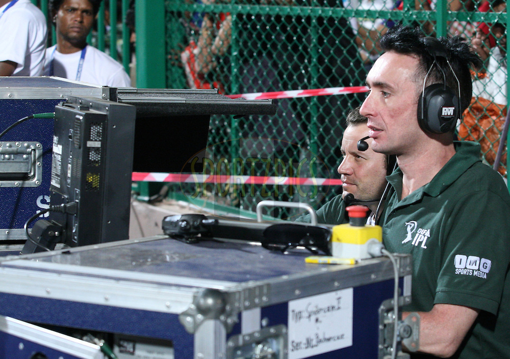 The Spidercam operators on the controls during match 8 of the the Indian Premier League ( IPL ) Season 4 between the Royal Challengers Bangalore and the Mumbai Indians held at the Chinnaswamy Stadium, Bangalore, Karnataka, India on the 12th April 2011..Photo by Vino John/BCCI/SPORTZPICS