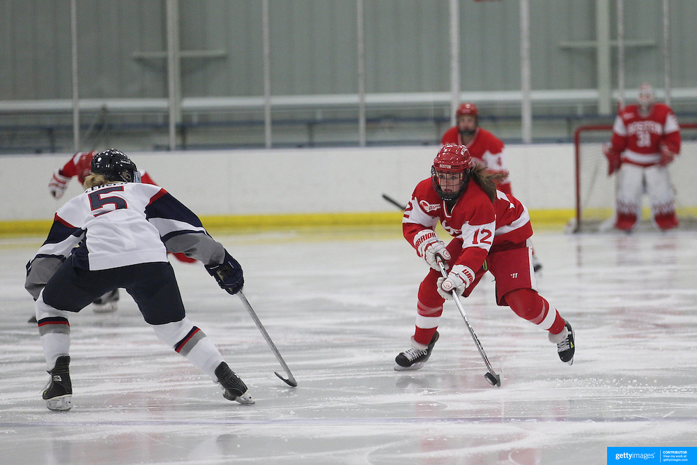 Victoria Bach, Boston University, in action  during the UConn Vs Boston University, Women's Ice Hockey game at Mark Edward Freitas Ice Forum, Storrs, Connecticut, USA. 5th December 2015. Photo Tim Clayton