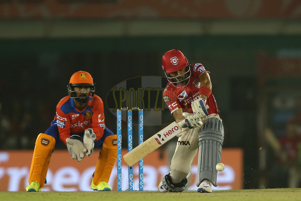 Manan Vohra of Kings XI Punjab attempts to slog sweep a delivery during match 3 of the Vivo Indian Premier League (IPL) 2016 between the Kings XI Punjab and the Gujarat Lions held at the IS Bindra Stadium, Mohali, India on the 11th April 2016<br /> <br /> Photo by Shaun Roy/ IPL/ SPORTZPICS
