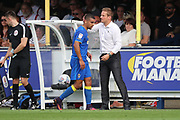 AFC Wimbledon striker Kweshi Appiah (9) and AFC Wimbledon manager Neal Ardley during the EFL Sky Bet League 1 match between AFC Wimbledon and Doncaster Rovers at the Cherry Red Records Stadium, Kingston, England on 26 August 2017. Photo by Matthew Redman.