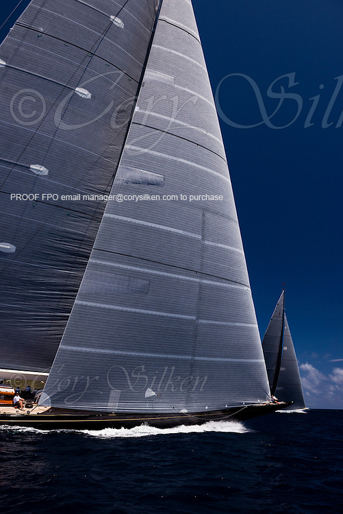 Hanuman, J Class, sailing in the St. Barth's Bucket Regatta, day one.
