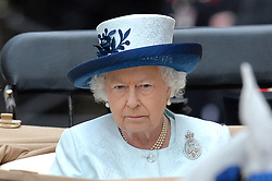 Image ©Licensed to i-Images Picture Agency. 14/06/2014. <br /> <br /> Pictured is The Queen in a horse drawn carriage at Horse Guards Parade during the Trooping of the Colour.<br /> <br /> Trooping The Colour, Her Majesty The Queens Birthday Parade at Horse Guards Parade, London, UK.<br /> <br /> Saturday 14th of June 2014.<br /> Picture by Ben Stevens / i-Images