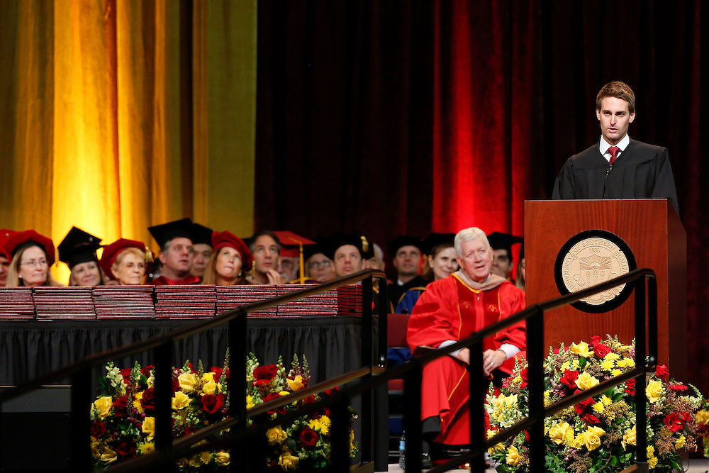 Snapchat co-founder and CEO Evan Spiegel speaks during his commencement address to the USC Marshall School of Business at the Galen Center on Friday, May 15, 2015 at the University of Southern California (USC) in Los Angeles, Calif. © 2015 Patrick T. Fallon