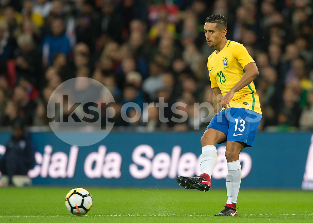 Marquinhos of Brazil during the International Friendly match between England and Brazil at Wembley Stadium, London, England on 14 November 2017. Photo by Vince Mignott.