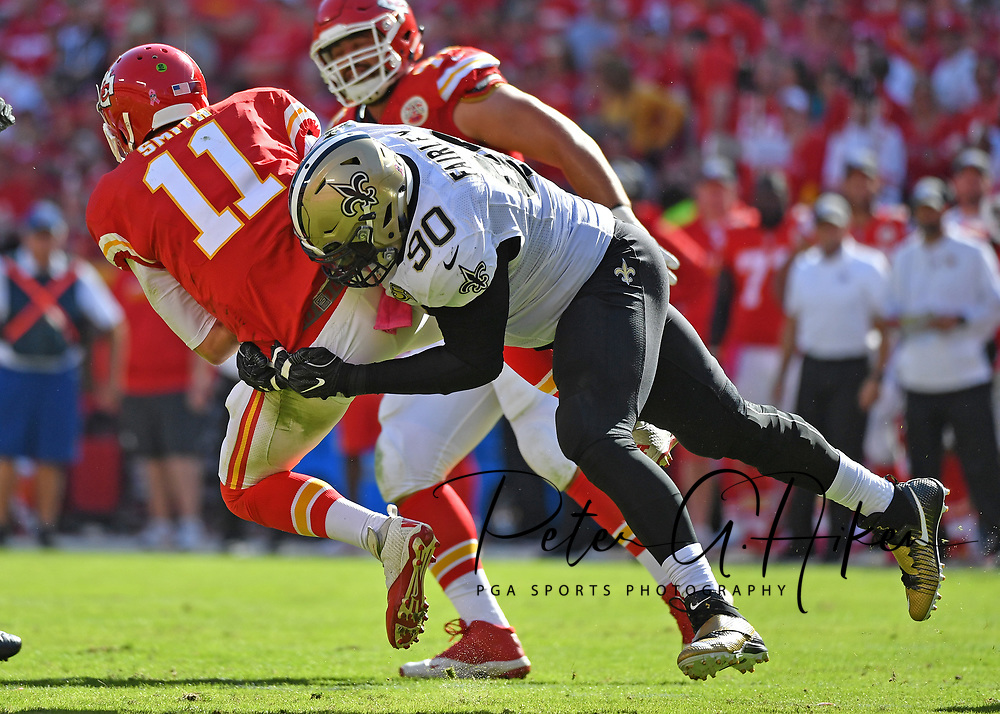 KANSAS CITY, MO - OCTOBER 23:  Defensive tackle Nick Fairley #90 of the New Orleans Saints hits quarterback Alex Smith #11 of the Kansas City Chiefs during the second half on October 23, 2016 at Arrowhead Stadium in Kansas City, Missouri.  (Photo by Peter G. Aiken/Getty Images) *** Local Caption *** Nick Fairley;Alex Smith