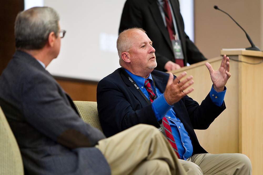 """Rick Essenberg, right, speaks on the panel """"How should the Right in Wisconsin navigate the Trump era?"""" at the Cap Times 2017 Idea Fest, Sunday, September 17, 2017"""