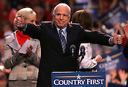 Senator John McCain and Governor Sarah Palin at a campaign rally in Virginia Beach, VA on October 13, 2008.  Photograph by Dennis Brack
