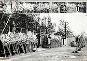 at the day of the funeral with the gift paper flower display at the restaurant Japan 1930s