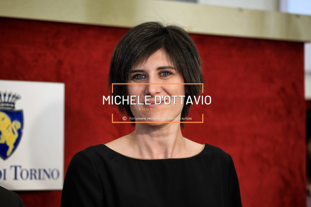 Torino 20 giugno 2016: Chiara Appendino durante la sua prima conferenza stampa da Sindaco di Torino.