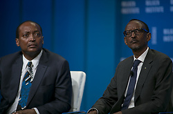 April 28, 2015 - Beverly Hills, California, U.S - H.E. Paul Kagame , President, Republic of Rwanda and (L)� Patrice Motsepe, Founder and Executive Chairman, African Rainbow Minerals  during the 2015 Milken Institute Global Conference held Tuesday April 28, 2015 at the Beverly Hilton Hotel in Beverly Hills, California. (Credit Image: © Prensa Internacional/ZUMA Wire)