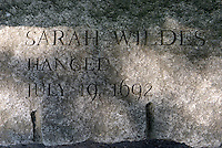 The name of Sarah Wildes, who was accused of being a witch is carved in stone, Salem Massachusetts, New England, North America, USA
