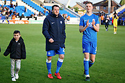 Peterborough midfielder Lee Tomlin (29) and Peterborough defender Josh Knight (3) claps the fans after the EFL Sky Bet League 1 match between Peterborough United and Burton Albion at London Road, Peterborough, England on 4 May 2019.