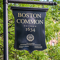 Boston Common sign photo. Boston Common is a city park founded in 1634 and is a historic landmark in Boston, Massachusetts in the Eastern United States of America.