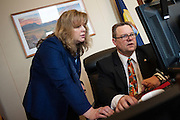 Montana Senator Jon Tester (D) works out his schedule in his office on Capitol Hill.