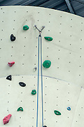 Safety equipment at an artificial rock climbing wall