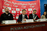 (L-R) Tomasz Majewski and Krzysztof Klimczak and Sebastian Chmara and Patrycja Horsztynska during press conference before athletics meeting Pedro's Cup 2014 at Press Centre of Polish Press Agency in Warsaw, Poland.<br /> <br /> Poland, Warsaw, January 14, 2014.<br /> <br /> Picture also available in RAW (NEF) or TIFF format on special request.<br /> <br /> For editorial use only. Any commercial or promotional use requires permission.<br /> <br /> Mandatory credit:<br /> Photo by © Adam Nurkiewicz / Mediasport