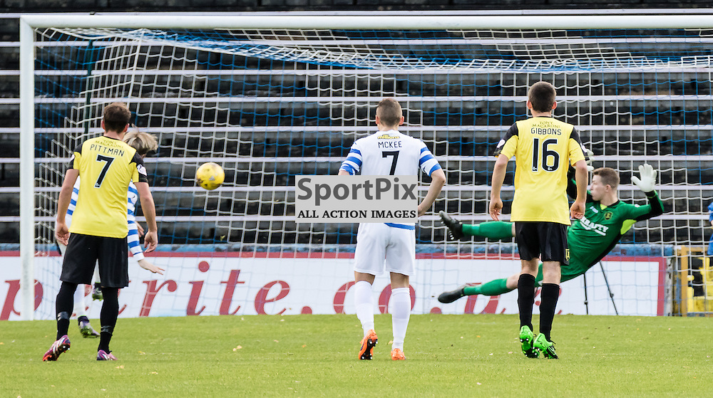 Morton's Denny Johnstone opens the scoring from spot during the Greenock Morton FC V Livingston FC Ladbrokes Scottish Championship game played at Cappielow Park, Greenock on 7th November 2015; (c) BERNIE CLARK | SportPix.org.uk