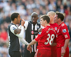 NEWCASTLE-UPON-TYNE, ENGLAND - Sunday, April 1, 2012: Liverpool's John Flanagan and Jamie Carragher argue with Newcastle United's James Perch during the Premiership match at St James' Park. (Pic by David Rawcliffe/Propaganda)