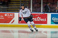KELOWNA, CANADA - DECEMBER 5:  Bryan McAndrews #21 of the Tri-City Americans warms up against the Kelowna Rockets on December 5, 2018 at Prospera Place in Kelowna, British Columbia, Canada.  (Photo by Marissa Baecker/Shoot the Breeze)