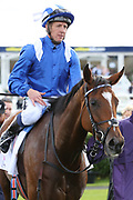ENBIHAAR (1) ridden by Jim Crowley and trained by John Gosden enter the Winners Enclosure after winning The Group 2 DFS Park Hill Stakes over 1m 6f (£100,000) during the second day of the St Leger Festival at Doncaster Racecourse, Doncaster, United Kingdom on 12 September 2019.