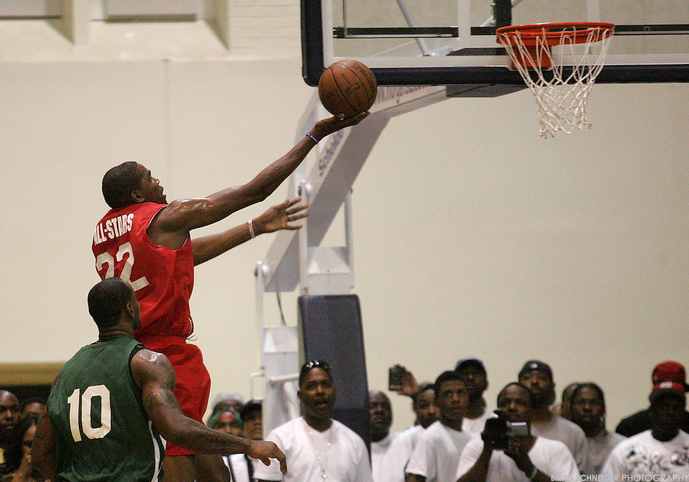August 30, 2011; Baltimore, MD, USA; Kevin Durant attempts a layup during the Goodman League All-Stars taking on The Melo League basketball game at Edward P. Hurt Gymnasium at Morgan State University on August 30, 2011 in Baltimore, Maryland. Brian Schneider-www.ebrianschneider.com