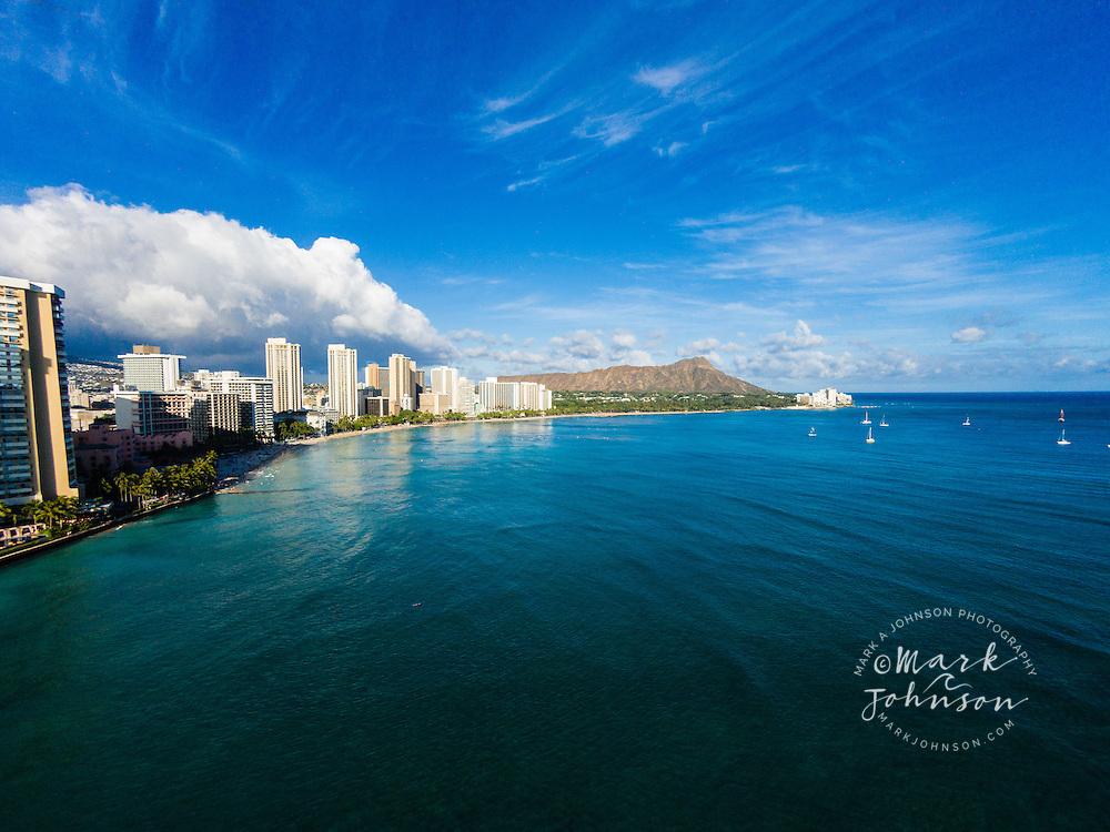 Aerial view of Waikiki Beach & Diamond Head, Honolulu, Oahu, Hawaii