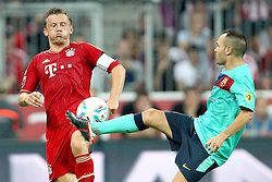 27.07.2011, Allianz Arena, Muenchen, GER, Audi Cup 2011, Finale,  FC Barcelona vs FC Bayern , im Bild Ivica Olic (Bayern #11) im Kampf mit Andres Iniesta (Barcelona #8)  // during the Audi Cup 2011,  FC Barcelona vs FC Bayern  , on 2011/07/27, Allianz Arena, Munich, Germany, EXPA Pictures © 2011, PhotoCredit: EXPA/ nph/  Straubmeier       ****** out of GER / CRO  / BEL ******