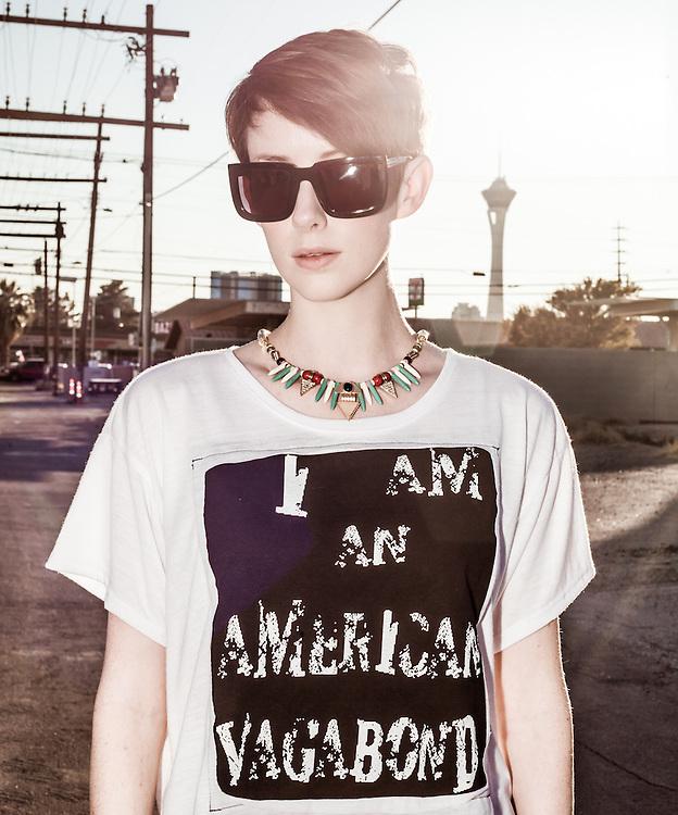 American Vagabond look book, model Simone Myers