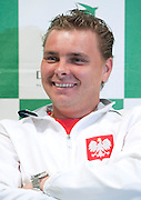 Marcin Matkowski of Poland while press conference three days before the BNP Paribas Davis Cup 2013 between Poland and South Africa at MOSiR Hall in Zielona Gora on April 02, 2013...Poland, Zielona Gora, April 02, 2013..Picture also available in RAW (NEF) or TIFF format on special request...For editorial use only. Any commercial or promotional use requires permission...Photo by © Adam Nurkiewicz / Mediasport