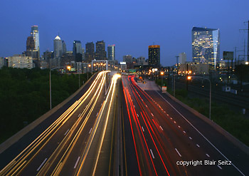Philadelphia skyline, night lights, auto light streaks, Comcast and Cira Skyscrapers, Bell Atlantic Tower and BNY Mellon Center