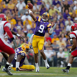 19 September 2009: LSU Tigers quarterback Jordan Jefferson (9) throws a pass during the first half of a game between the University of Louisiana Lafayette Ragin' Cajuns and the  LSU Tigers at Tiger Stadium in Baton Rouge, Louisiana.