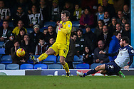 David Worrall of Southend United (right) shoots under pressure from Lee Cox of Plymouth Argyle during the Sky Bet League 2 match at Roots Hall, Southend<br /> Picture by David Horn/Focus Images Ltd +44 7545 970036<br /> 10/01/2015