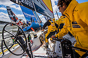 Onboard Abu Dhabi Ocean Racing during the practice race in Gothenburg, Sweden - Volvo Ocean Race 2014-2015