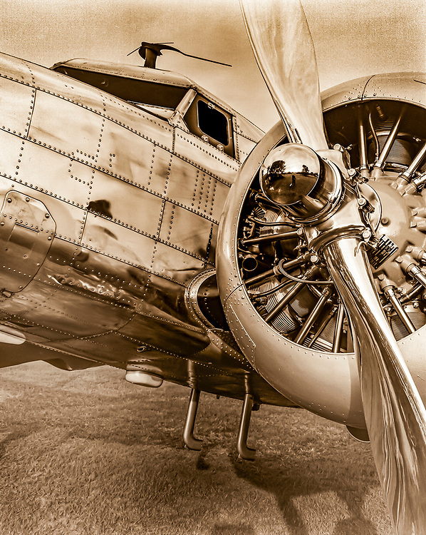 Joe Shepher's Lockheed 12A Electra Junior, photographed with an 8x10 view camera, and Tri-X film.