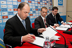 Gabrijel Skof, general manager of Adriatic Slovenica d.d., Aleksander Ceferin, president of NZS and Ales Zavrl, secretary general of NZS signing sponsorship contract during press conference of Football Association of Slovenia (NZS) on January 22, 2013 in Austria Trend Hotel, Ljubljana, Slovenia. (Photo By Vid Ponikvar / Sportida.com)