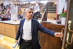 © Licensed to London News Pictures. 13/01/2018. London, UK. Mayor of London SADIQ KHAN attends the the Fabian Society New Year conference in London where he was heckled by a group of protesters shouting pro-Brexit and Pro-Donald Trump slogans. Police were called to deal with the incident at the annual gathering of the British socialist movement.  Photo credit: Tom Nicholson/LNP