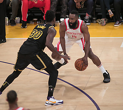 April 10, 2018 - Los Angeles, California, U.S - James Harden #13 of the Los Angeles Lakers with the ball during their NBA game with the Houston Rockets on Tuesday April 10, 2018 at Staples Center in Los Angeles, California. Lakers lose to Rockets, 105-99. (Credit Image: © Prensa Internacional via ZUMA Wire)