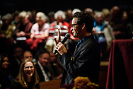 The Rev. Jeffrey Leininger, CUC campus pastor, greets the audience during The Reformation at 500: An Interdenominational Conversation, on Monday, Oct. 30, 2017, at Chapel of Our Lord at Concordia University Chicago in River Forest, Ill. Featured presenters were Cardinal Blase J. Cupich, Archdiocese of Chicago, the Rev. Dr. Matthew C. Harrison, president of the LCMS, and the Rev. Dr. Philip Ryken, president of Wheaton College. The moderator was Manya Brachear Pashman, religion correspondent for the Chicago Tribune. LCMS Communications/Erik M. Lunsford