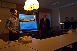 Pictured: Chemistry teacher Phlip Wooton made sure his lessons kept John Swinney paying attention<br /> <br /> Deputy First Minister and Education Secretary John Swinney visited St Augiustine's RC High School in Edinburgh to speak to young people about attainment and leaving schools with the suite of statistics published today. St Augustine's RC High School<br /> <br /> <br /> Ger Harley | EEm 19 June 2018