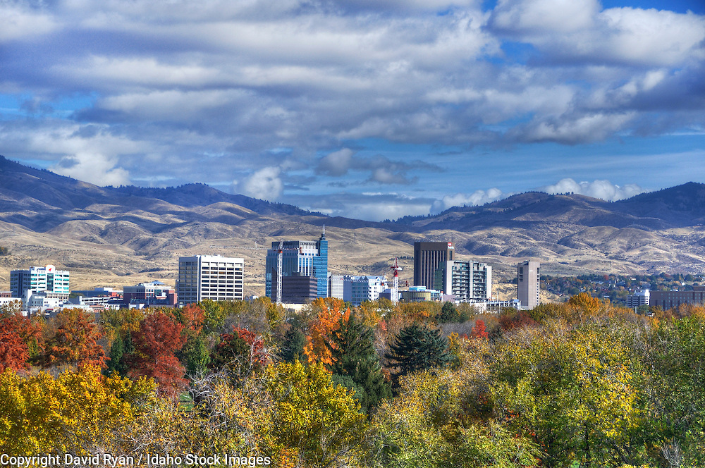 The skyline of Boise, Idaho in autumn
