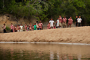Katoka School Children on picnic<br /> Rupununi River<br /> Rupununi<br /> GUYANA<br /> South America