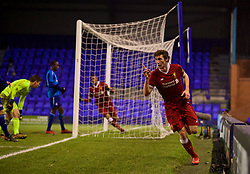 BIRKENHEAD, ENGLAND - Tuesday, December 19, 2017: Liverpool's Matthew Virtue celebrates scoring the third goal during the Under-23 FA Premier League International Cup Group A match between Liverpool and PSV Eindhoven at Prenton Park. (Pic by David Rawcliffe/Propaganda)