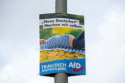 "Election poster  (with message - ""New Germany? Lets do it ourselves) for AfD , Alternative fur Deutschland, right wing political party, in Berlin Germany August 2017."