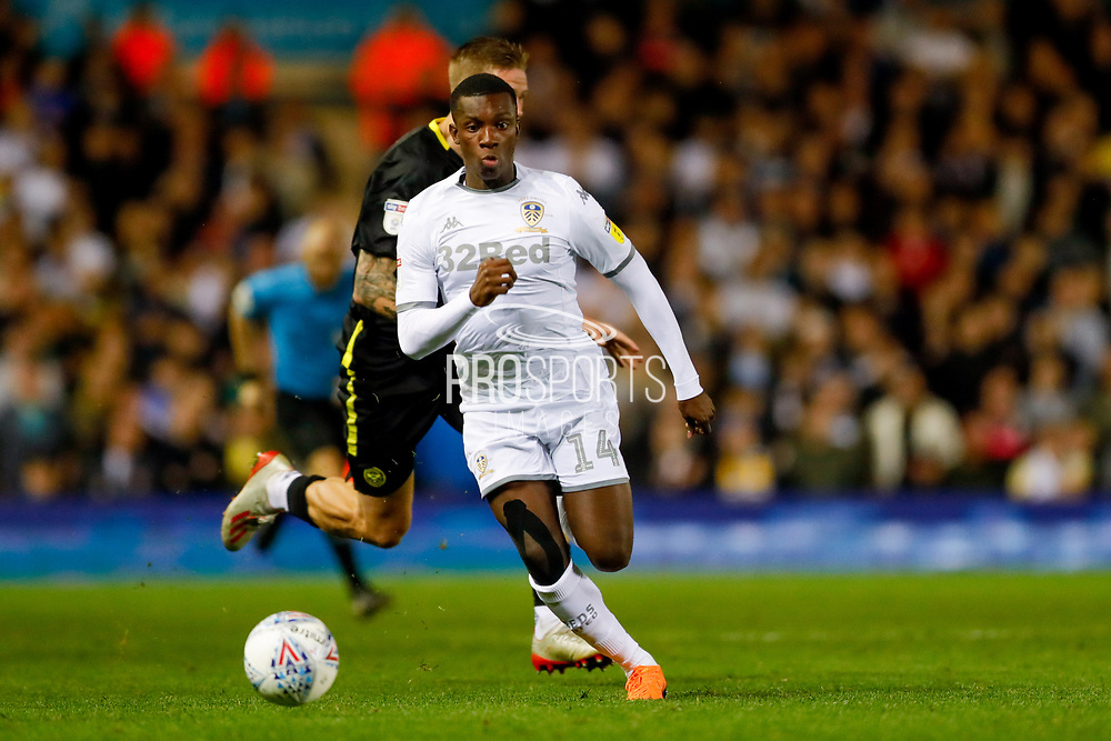 Leeds United forward Edward Nketiah (14), on loan from Arsenal,  during the EFL Sky Bet Championship match between Leeds United and Brentford at Elland Road, Leeds, England on 21 August 2019.