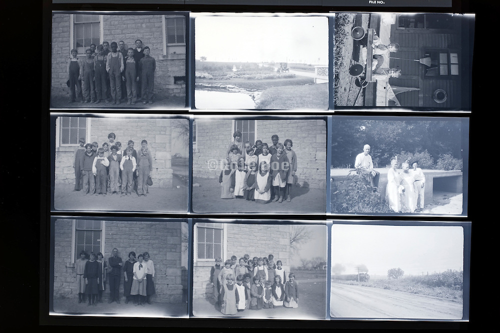 concactsheet of old photos with groups of schoolchildren posing rural USA