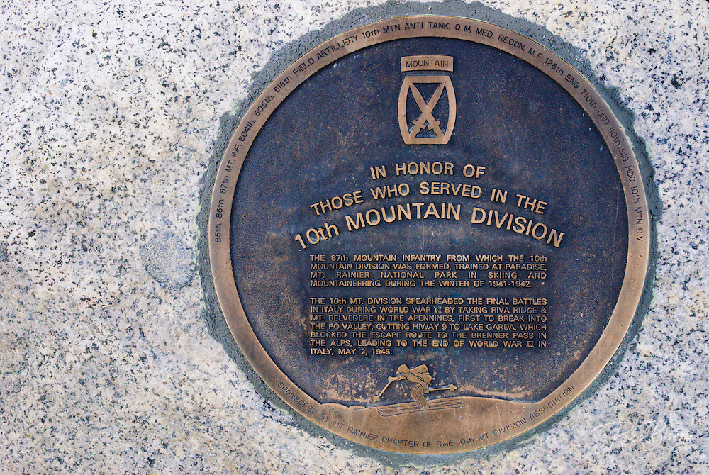 Plaque commemorating the 10th Mountain Division WWII (trained at Paradise), Mount Rainier National Park, Washington